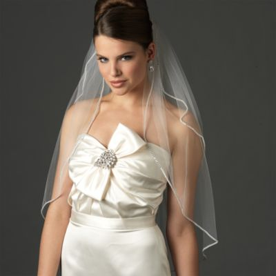 Swarovski Crystal Edge Elbow-Length 2-Layer Bridal Veil in White