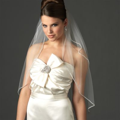 Swarovski Crystal Edge Elbow-Length 2-Layer Bridal Veil in Ivory