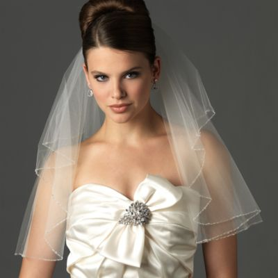 Swarovski Delicate Edge Shoulder-Length 2-Layer Bridal Veil in Ivory