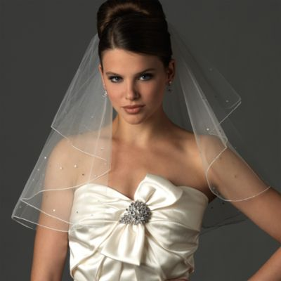 Two-Layer Swarovski Crystal Edge Shoulder White Veil