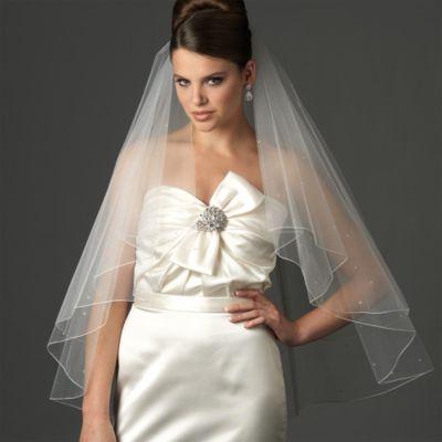 Swarovski Crystal Edge Fingertip-Length 2-Layer Bridal Veil in White