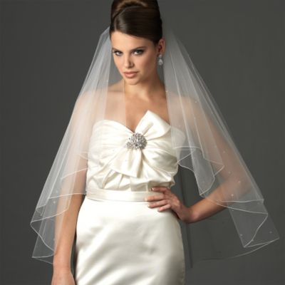 Two-Layer Swarovski Crystal Edge Fingertip Diamond White Bridal Veil