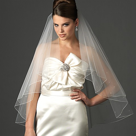Swarovski Crystal Edge Fingertip-Length 2-Layer Bridal Veil in Diamond White