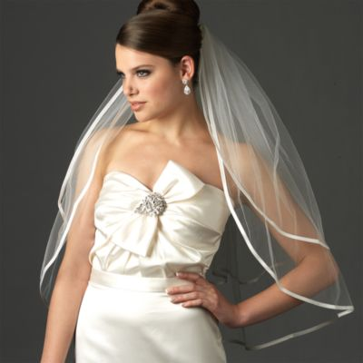Ribbon Edge Elbow-Length Bridal Veil Bridal Accessories