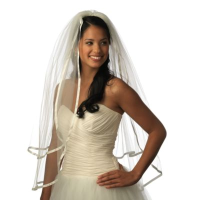 Ribbon Edge Fingertip-Length 2-Layer Bridal Veil in White
