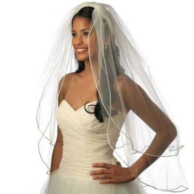 Satin Corded Fingertip-Length 2-Layer Bridal Veil in Ivory