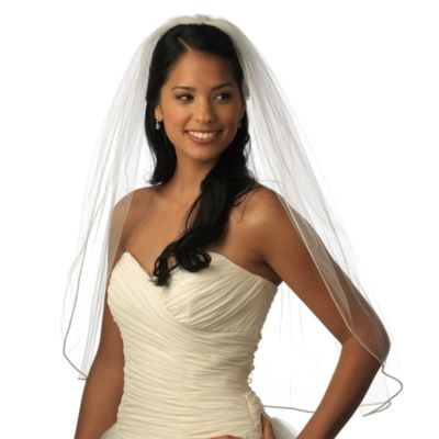 Satin Corded 1-Layer Elbow White Bridal Veil