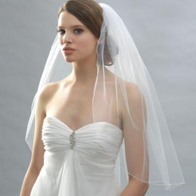 Pencil Edge Elbow-Length Bridal Veil in Ivory
