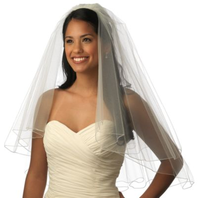 Pencil Edge Elbow-Length 2-Layer Bridal Veil in White
