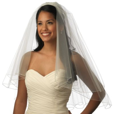 Pencil Edge Elbow-Length 2-Layer Bridal Veil in Diamond White