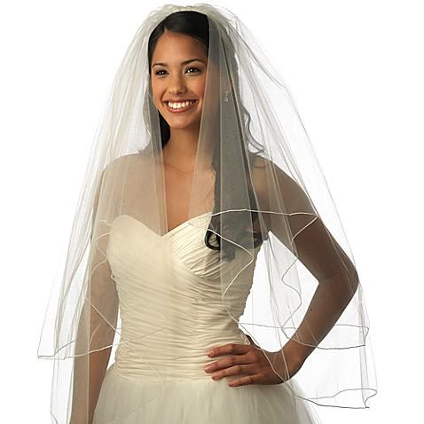 Pencil Edge Fingertip Length 2 Layer Bridal Veil Bed