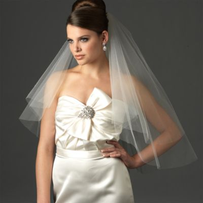 Cut Edge 2-Layer Elbow Diamond White Bridal Veil