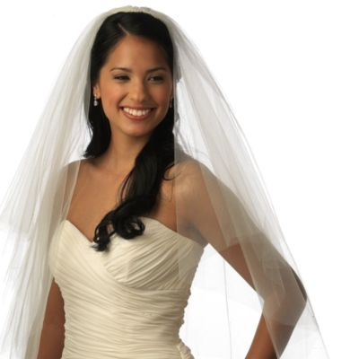 Cut Edge Fingertip-Length 2-Layer Bridal Veil in Diamond White
