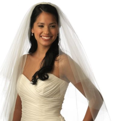Cut Edge Fingertip-Length 2-Layer Bridal Veil in Ivory