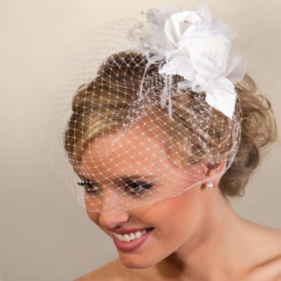 Double Rose White Cage Bridal Veil