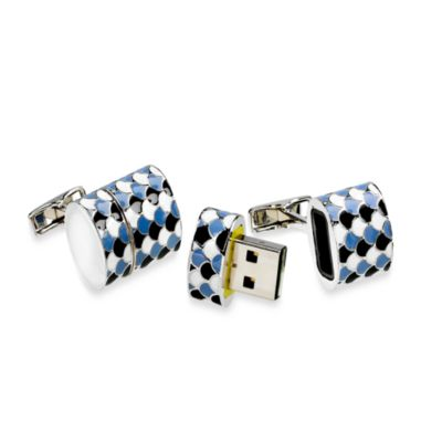 Oval 4GB USB Flash Drive Cufflinks in Polished Silver