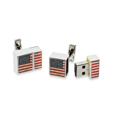 Distressed USA Flag 4GB USB Flash Drive Cufflinks