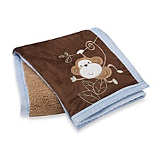 S.L. Home Fashions Baby Blanket in Blue Monkey