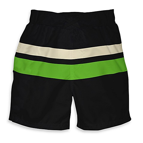 i play. ® Mod Size 12 Months Ultimate Swim Diaper Block Board Shorts in Black with Lime