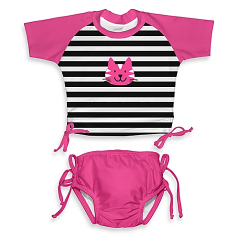 i play.® Mod Tie Size 12 Months Kitty Rashguard Set in Hot Pink