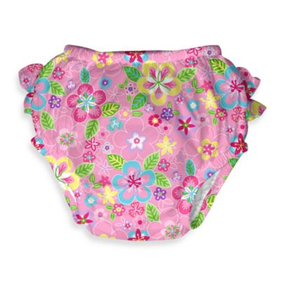 i play.® Mix 'n Match Pink Flower Field Ultimate Ruffle Swim Diaper