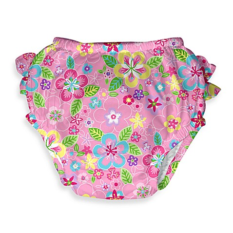 i play.® Mix 'n Match Pink Flower Field Ultimate Ruffle Swim Diaper - 18 Months
