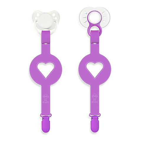 Paciplay Teethable Pacifier Holder in Purple Heart