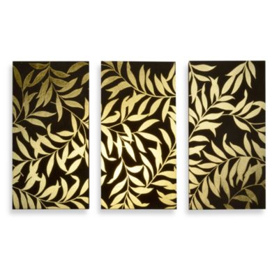 Gold Leaves Panel Wall Art (Set of 3)