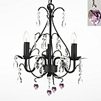 Wrought Iron & Crystal 3-Light Chandelier with Pink Crystals