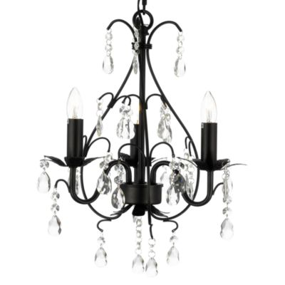 Wrought Iron & Crystal 3-Light Chandelier in Black