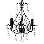 Wrought Iron & Crystal 3-Light Chandelier in Black & Shades