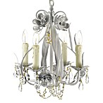 Wrought Iron & Crystal 4-Light Chandelier in White
