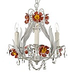Wrought Iron & Crystal 4-Light Chandelier with Pink Flowers