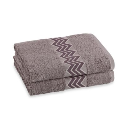 Revere Mills Bathsol Chevron Bath Towels in Grey (Pack of 2)
