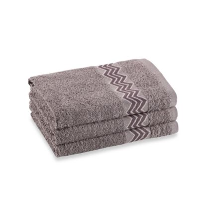 Revere Mills Bathsol Chevron Hand Towels in Grey (Pack of 3)