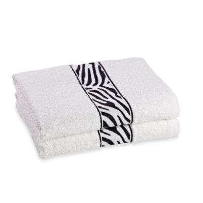 Revere Mills Bathsol Zebra Bath Towels in White (Pack of 2)