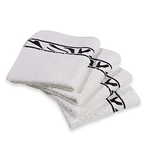 Revere Mills Bathsol Zebra Wash Cloths in White (Pack of 4)