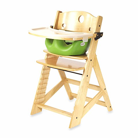 Keekaroo® Height Right High Chair Natural with Lime Infant Insert and Tray