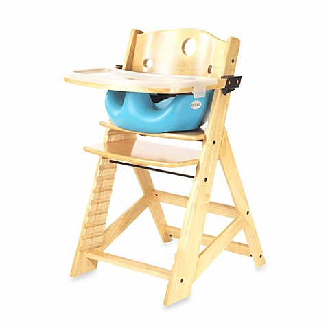 Keekaroo® Height Right High Chair Natural with Aqua Infant Insert and Tray