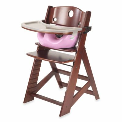 Keekaroo® Height Right High Chair Mahogany with Lilac Infant Insert and Tray