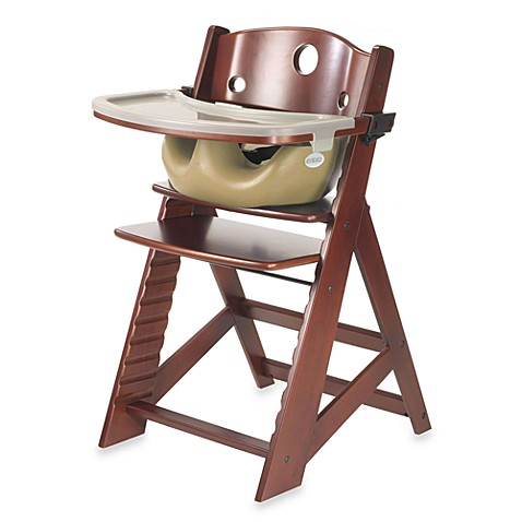 Keekaroo® Height Right High Chair Mahogany with Latte Infant Insert and Tray