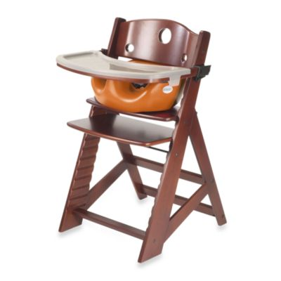 Keekaroo® Height Right High Chair Mahogany with Pumpkin Infant Insert and Tray
