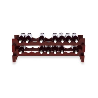 18-Bottle Stackable Wine Rack Kit in Mahogany