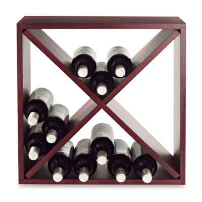 24-Bottle Compact Wood Cube Wine Rack