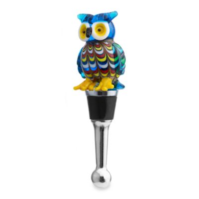 Glass Blown Owl Wine Stopper
