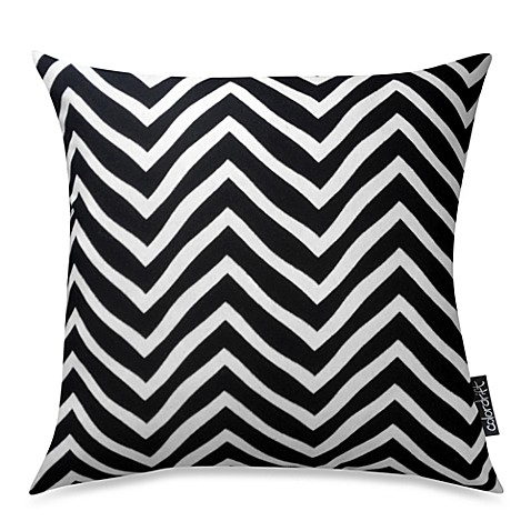 Chevron Recycled Cotton 20-Inch Throw Pillow in Black