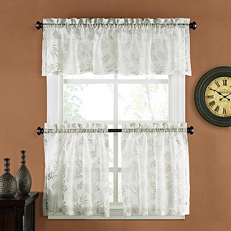 Palm Burnout Linen 24-Inch Window Curtain Tier Pair