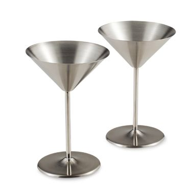 Stainless Steel Martini Glasses (Set of 2)