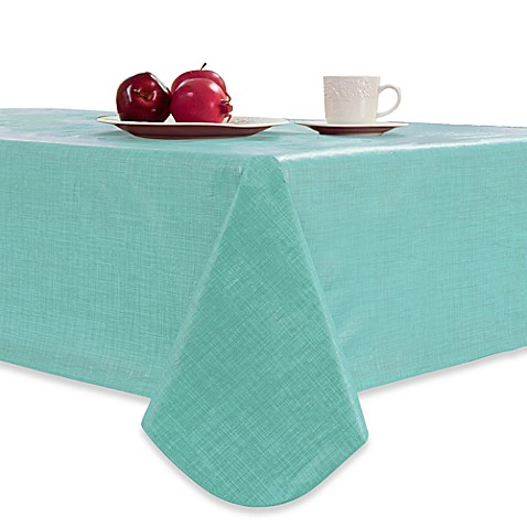 Monterey 70-Inch Round Umbrella Vinyl Tablecloth in Teal