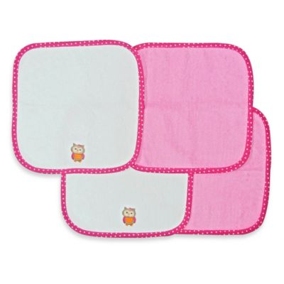 Neat Solutions® 4-Pack Washcloth Set in Pink Owl
